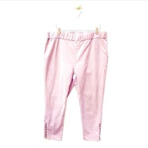 soft surroundings / pink ankle button casual pants